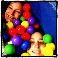 Barb and Nat in ballpit