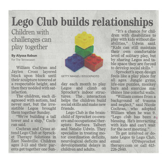 Tennessean Article about Lego Club